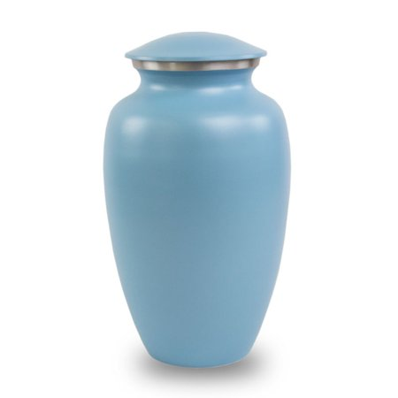 Blue Classic Cremation Urn   Blue Metal 200 Pounds Large