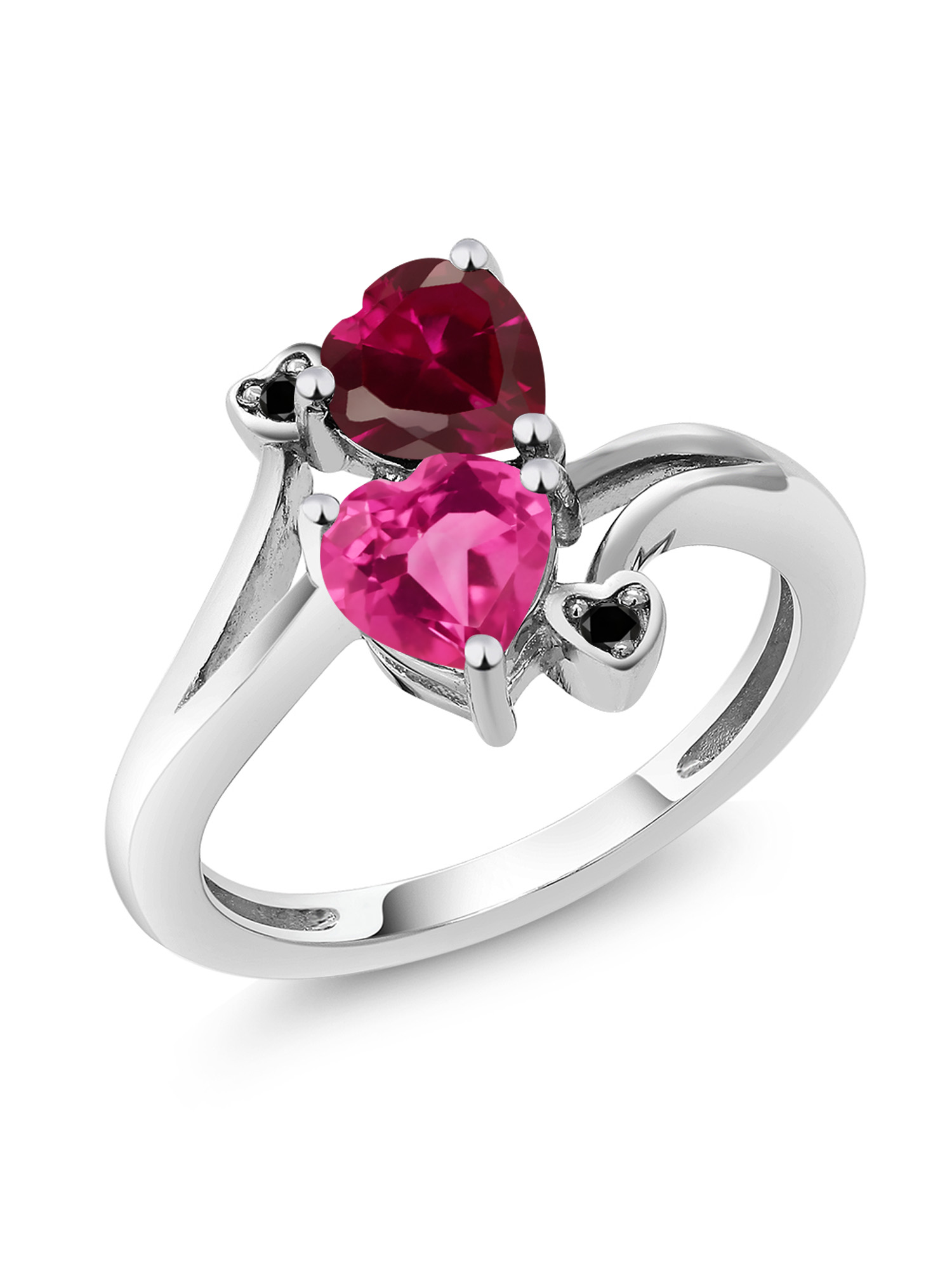 1.80 Ct Heart Shape Pink Created Sapphire Red Created Ruby 10K White Gold Ring by