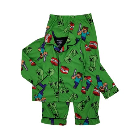 Minecraft Mojang Boys Green Flannel 2-Piece Sleepwear Pajamas Set Sleep Set - Minecraft Green
