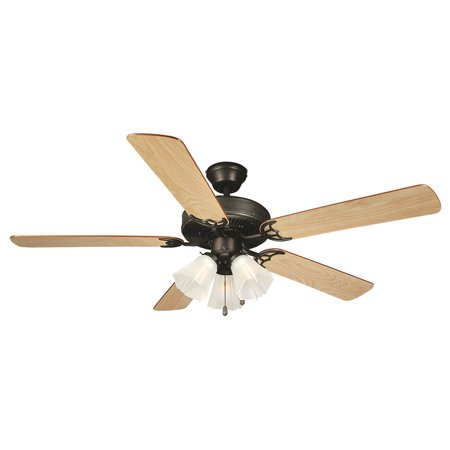 Design House 153932 Millbridge 52-Inch Traditional Indoor Tri-Mount Ceiling Fan with Light Kit, Reversible Blades, Oil Rubbed Bronze Oil Rubbed Bronze Fan Light
