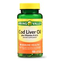 Spring Valley 100 ct, Cod Liver Oil + Vitamin A & D Softgels