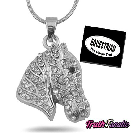 Horse Head Necklace Adults, Women, Teen & 5.5 decal - Horse Head Charm Necklace w/18