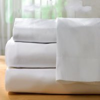 GHP Queen Size T300 Percale White Poly/Cotton Blend Deep Pocket Hotel Sheet Set