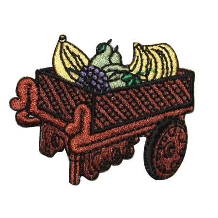 Old Fruit (ID 1302 Fruit Cart Patch Old Wooden Street Vendor Embroidered Iron On Applique )