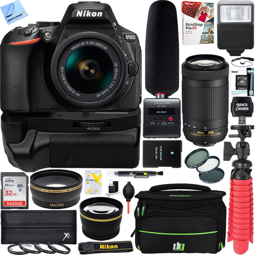 Nikon D5600 Digital SLR Camera + 18-55mm & 70-300mm Dual Lens Tascam Video Creator Bundle