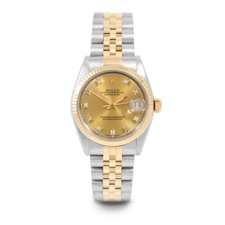 Pre Owned Rolex Datejust 6827 w/ Champagne Diamond Dial 31mm Women's Watch (Certified & Warranty Included)