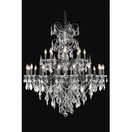 - Pendants Porch 24 Light With Clear Crystal Elegant Cut Dark Bronze size 44 in 1440 Watts - World of Classic