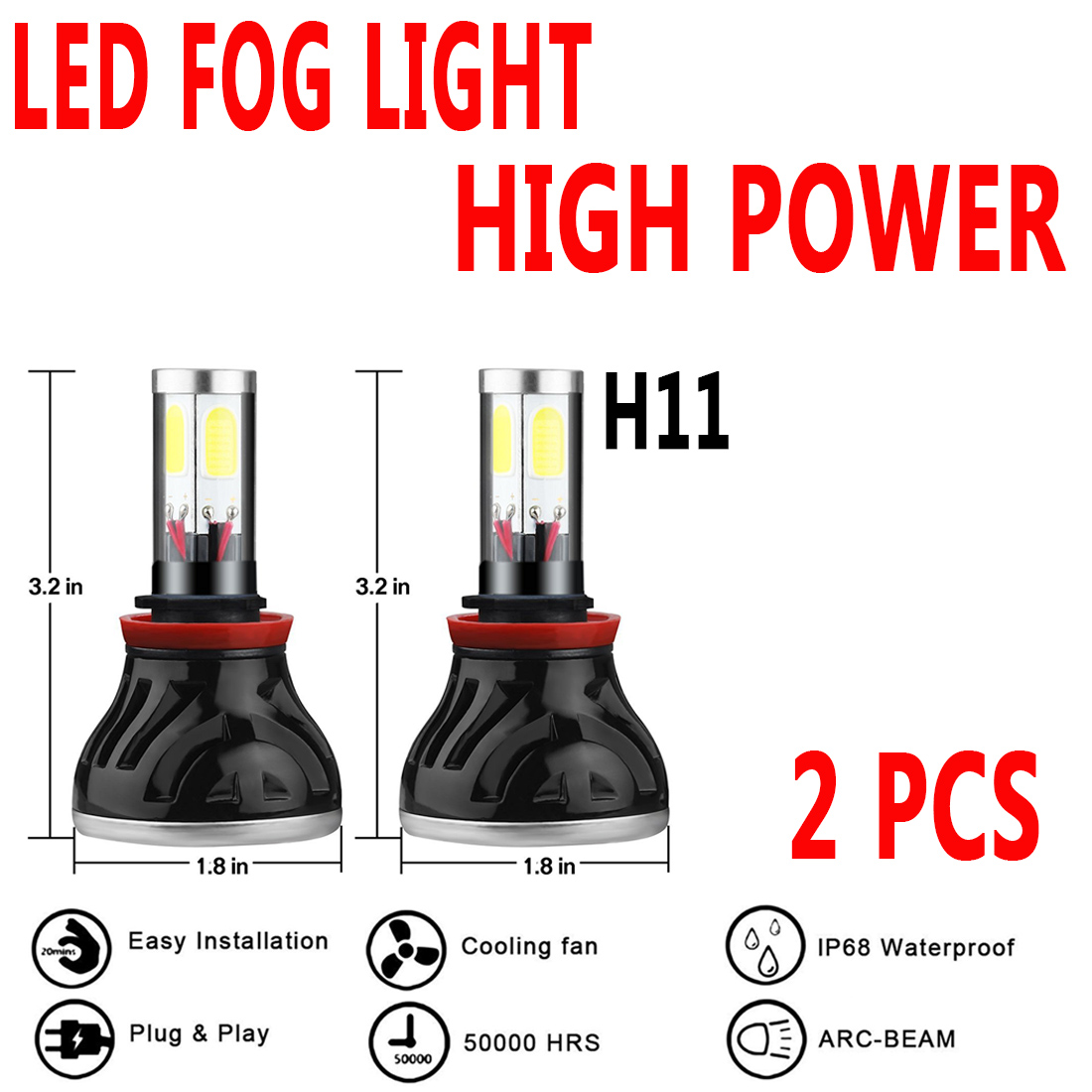 AUTO 1Pair LED Headlight H11 H9 H8Super White O Light Bul...