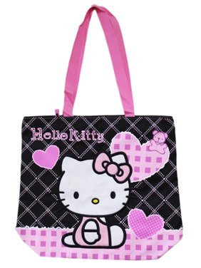 1303ed67ef32 Product Image Hello Kitty Black and Pink Heart Themed Medium Size Tote Bag.  Sanrio