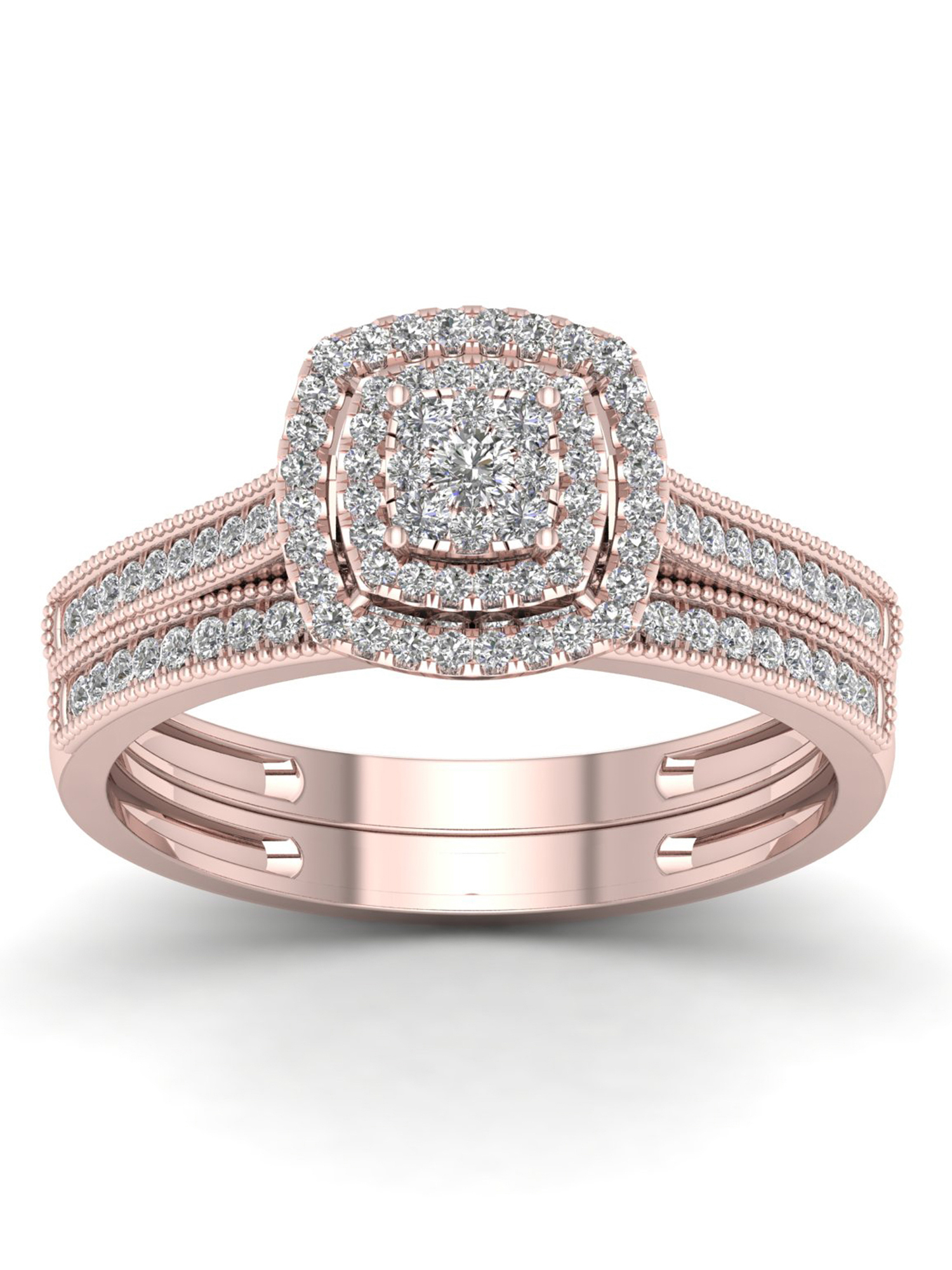 Imperial 1/3Ct TDW Diamond 10K Rose Gold Cluster Double Halo Bridal Set