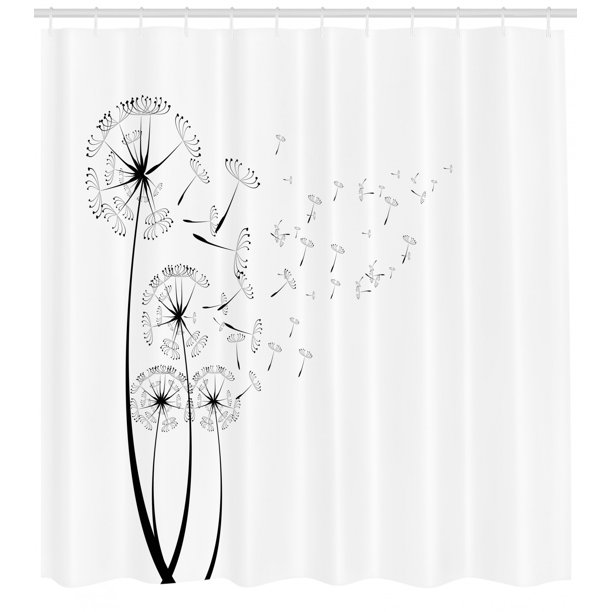 Dandelion Shower Curtain Monochrome Dandelion Seeds Blowing In Wind Fluffy Flower Romance Theme Fabric Bathroom Set With Hooks Charcoal Grey White By Ambesonne Walmart Com Walmart Com