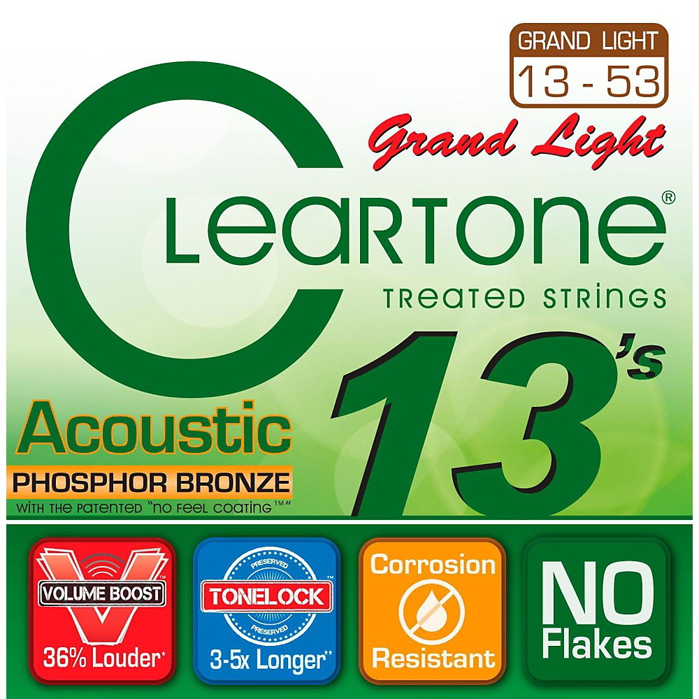Cleartone Grand Light Phosphor Bronze Acoustic Guitar Strings (13-53) by Cleartone