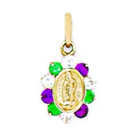 14k Yellow Gold Green and Red Cubic Zirconia Small Virgin Mary Pendant - Measures 17x9mm