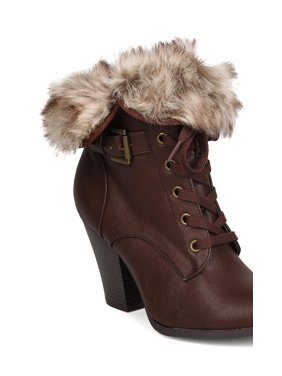 cafa2b56167 Product Image New Women Wild Diva Danielle-17 Leatherette Lace Up Fur Cuff Chunky  Heel Bootie