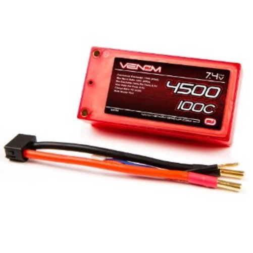 Venom Group International 100C 2S 4500mAh 7.4v LiPO Battery Shorty Pack ROAR Approved with UNI Plug