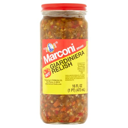 Red Relish Dish - (2 Pack) Marconi Hot Giardiniera Relish, 16 fl oz