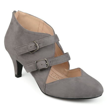Brinley Co. Womens Faux Suede Comfort Sole Sweetheart Toe Dual Buckle Heels
