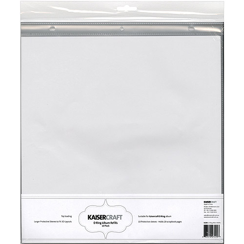 Kaisercraft SA200 D-Ring Album Page Protectors Pocket, 12 by 12-Inch Multi-Colored