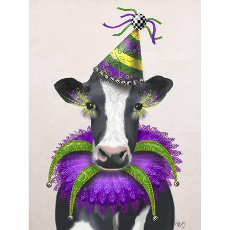 Mardi Gras Cow Whimsical Animal Humor Print Wall Art By Fab Funky