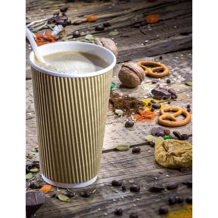 (500 pcs) 16 oz Disposable Double Walled Hot Cups - No Sleeves needed Premium Insulated Ripple Wall Hot Coffee Tea Chocolate Drinks Perfect Travel To Go Paper Cup