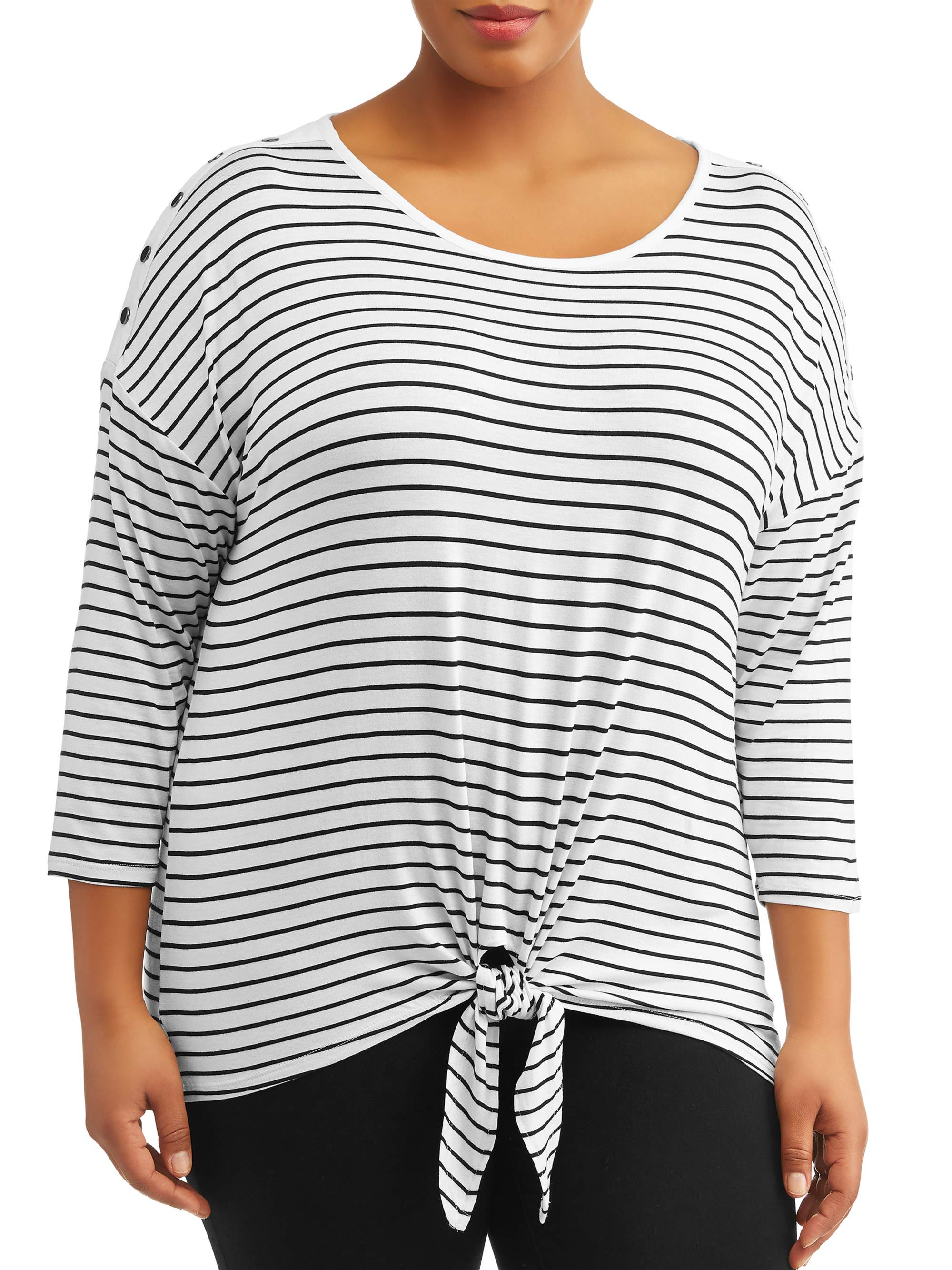 Women's Plus Size 3/4 Sleeve Scoop Neck Stripe Top With Buttons