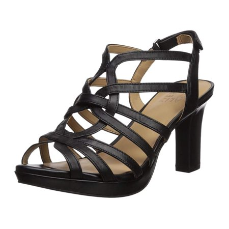 Naturalizer Womens Flora Peep Toe Casual Strappy, Black Leather, Size 9.0