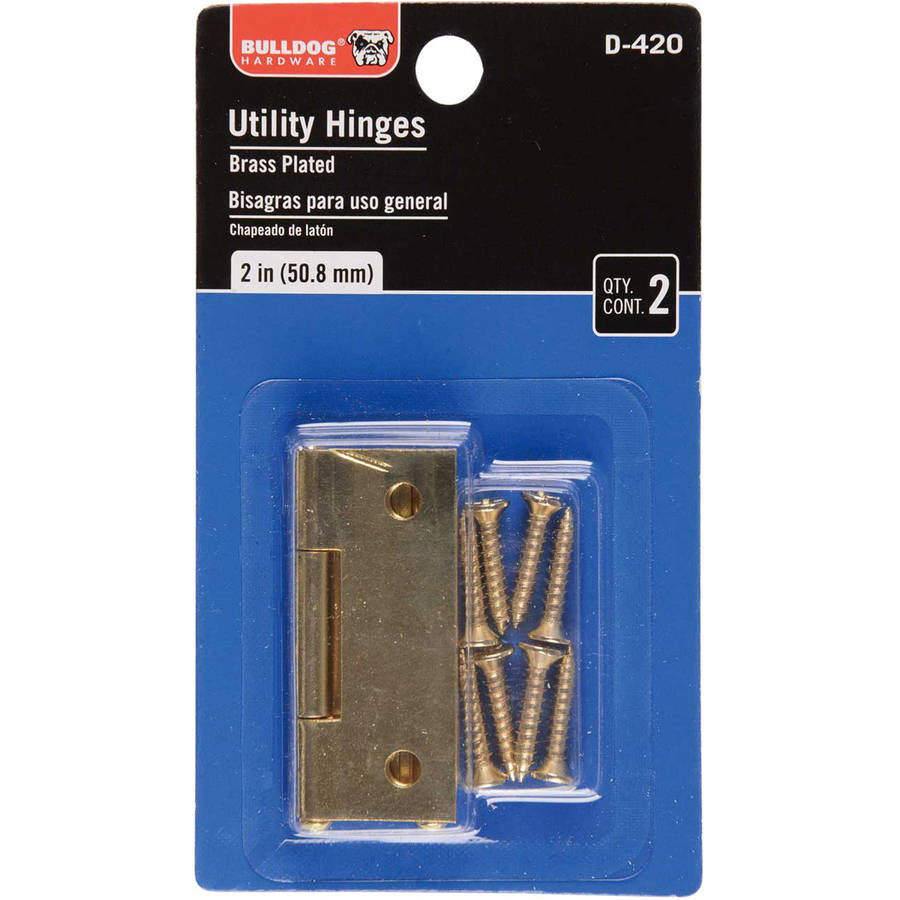 Bulldog Hardware Brass Plated Utility Hinges 2 ct Carded Pack by Bulldog Hardware