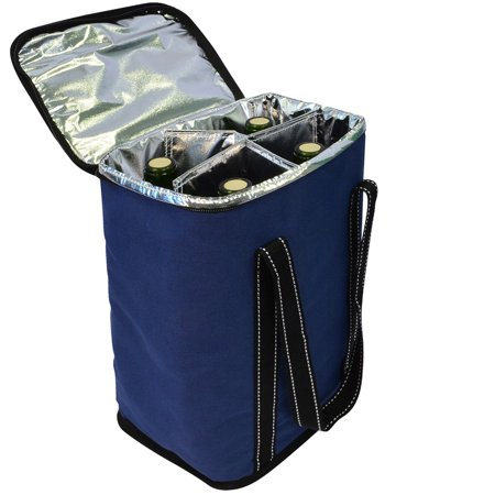 Vina 4 Bottle Wine Carrier - Travel Insulated Wine Carrying Case Tote Bag for Champagne Picnic Cooler Blue ()