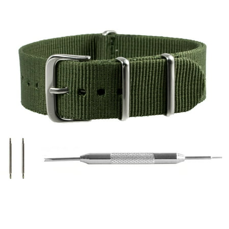 Army Green Ballistic Nylon NATO Watchband + Spring Bar Tool (18, 20, 22 & 24mm) (Swiss Army Watch Band Loop)