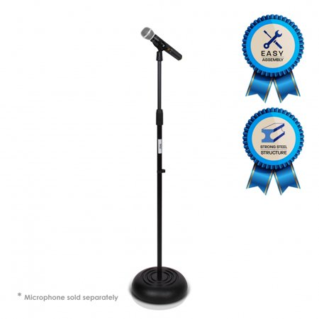 PYLE PMKS5 - Microphone Stand - Universal Mic Mount with Heavy Compact Base, Height Adjustable (2.8' - 5' ft.)