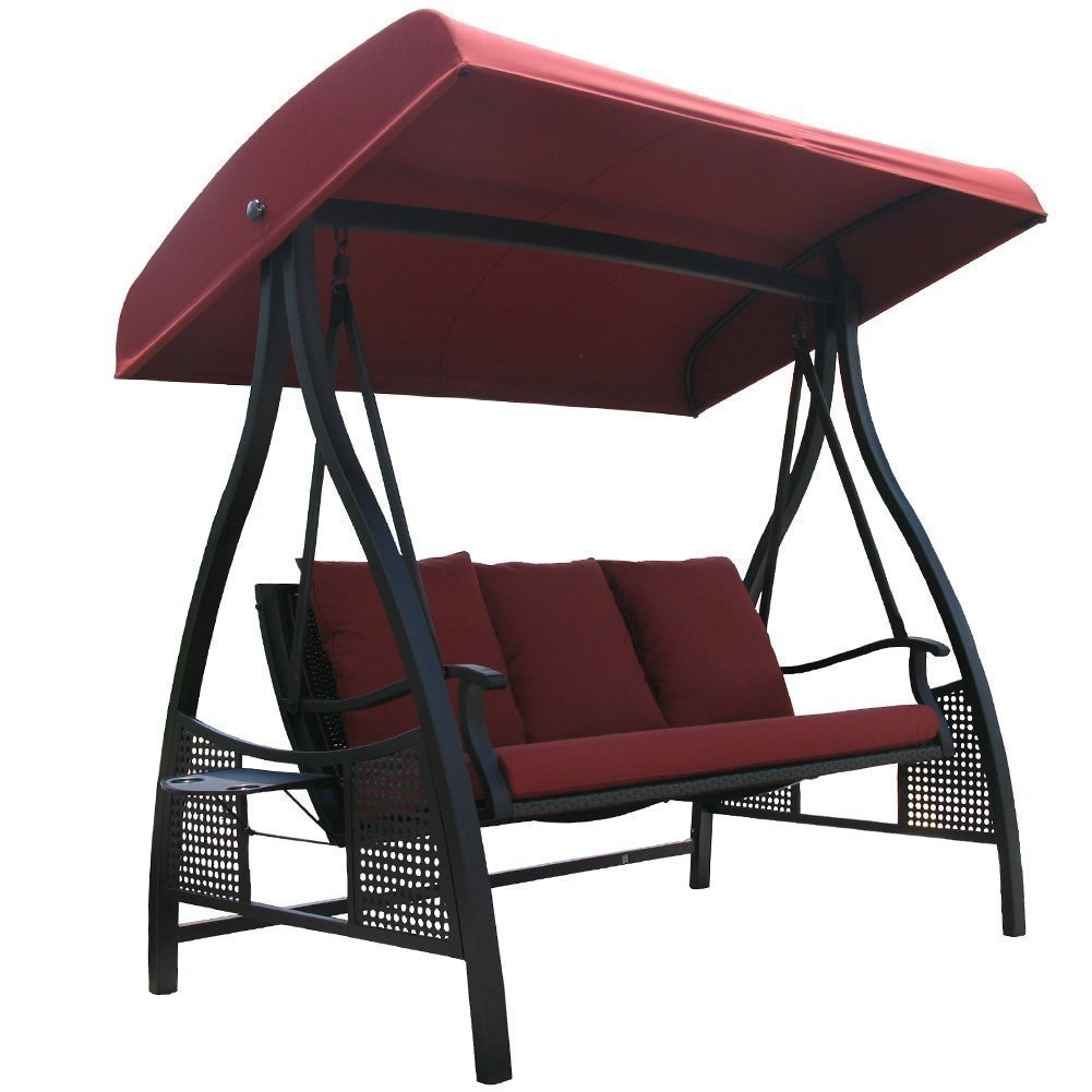 Abba Patio 3 Person Outdoor Metal Gazebo Padded Porch Swing Hammock With Adjustable Tilt Canopy Red