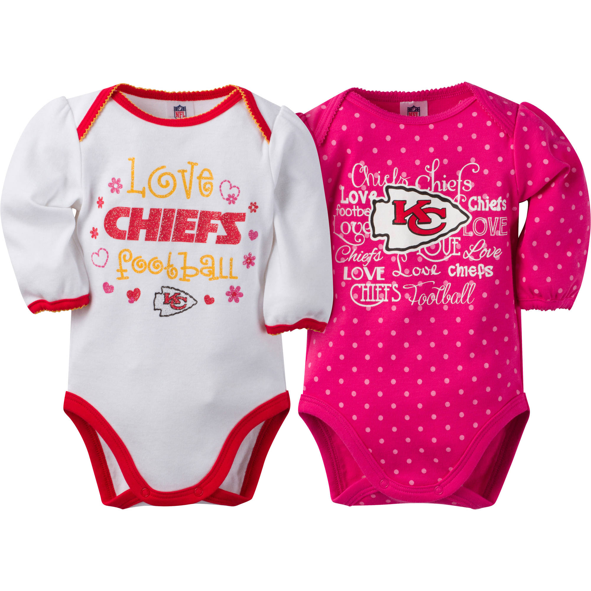 NFL Kansas City Chiefs Baby Girls Long Sleeve Bodysuit Set, 2-Pack