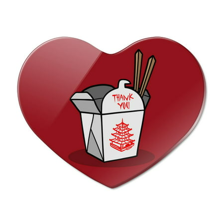 Chinese Food Takeout Box with Chopsticks Heart Acrylic Fridge Refrigerator Magnet (Chinese Takeout Containers)