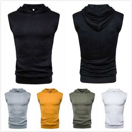 Summer Solid Color Shirt Top Fashion Comfortable Hooded Sleeveless T-Shirt - image 3 of 4