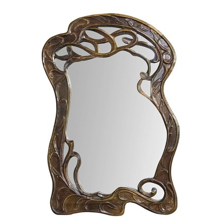 DecorShore Vienna - 30 in x 20 in Antique Style Hand Carved Mango Wood Curving Branches Design Decorative Wall (Antique Hand Mirror)