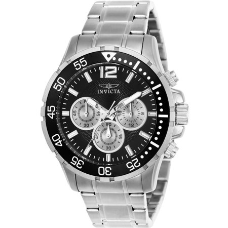 Invicta Men's Specialty 45mm Steel Bracelet & Case Flame-Fusion Crystal Quartz Black Dial Watch (Invicta Specialty Collection Tritnite Flame Fusion Crystal)