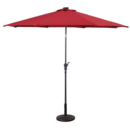 Costway 10ft Patio Solar Umbrella LED Patio Market Steel Tilt W/ Crank (Burgundy)