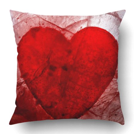 ARTJIA Red Edgy My Bloody Valentine Heart in Ice Broken Abstract Blood Dark Lovesick Romance Amor Pillowcase 18x18 inch