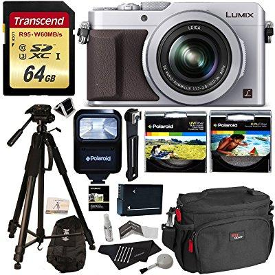 Panasonic LUMIX LX100 12.8 MP Point and Shoot Camera with Integrated Leica DC Lens Silver + Transcend 64GB +... by Panasonic