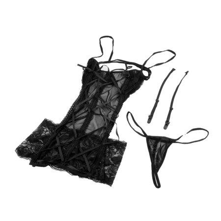 Sexy Lace Lingerie Nightwear Underwear Sleepwear Babydoll +G-string Backless - image 4 de 5
