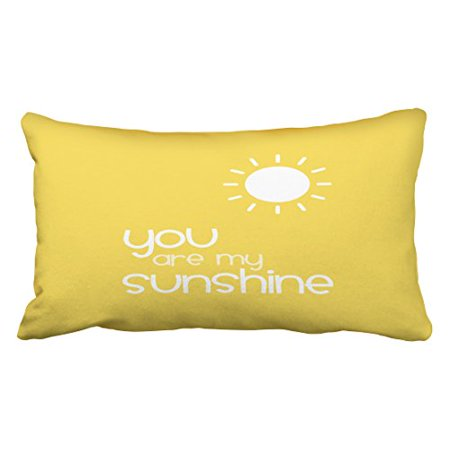 WinHome Decorative You Are My Sunshine Yellow Pillow Decorative Inspirational Quotes Pillow Cover Throw Pillow Case Cover Quotes Zippered Pillowcase Pillow Cover Size 20x30 inches Two Side (Quotes Pillowcase)