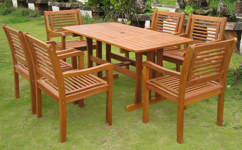 7 Pc Modern Outdoor Dining Room Set by International Caravan