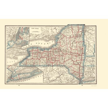 Old State Map   New York   Rathbun 1893   23 X 35 39