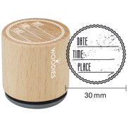 """Woodies Mounted Rubber Stamp 1.35""""-Date Time Place"""