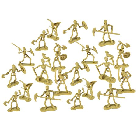 Skeleton Warrior Figures - Pack Of 20 1 X 2.5 Inches - Cool And Fun Skeleton Army Miniatures Toys - For Kids Great Party Favors, Bag Stuffers, Fun, Toy, Gift,