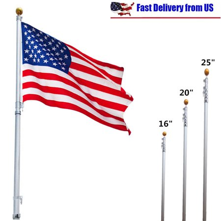 Good Quality Silver 20Ft Aluminum Alloy Material Flagpole Retractable Flagpole At Low Price