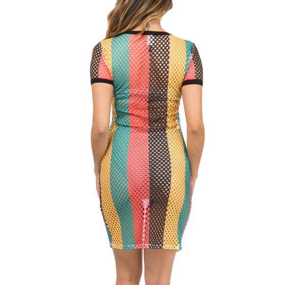 Genx Womens Fishnet Rasta Jamaica Cover Up Tunic Dress Kd8710