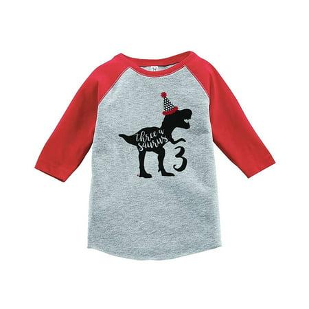 93c6b8f3d10 7 ate 9 Apparel - 7 ate 9 Apparel Three Third Birthday Dinosaur Red Baseball  Tee - 3T T-shirt - Walmart.com