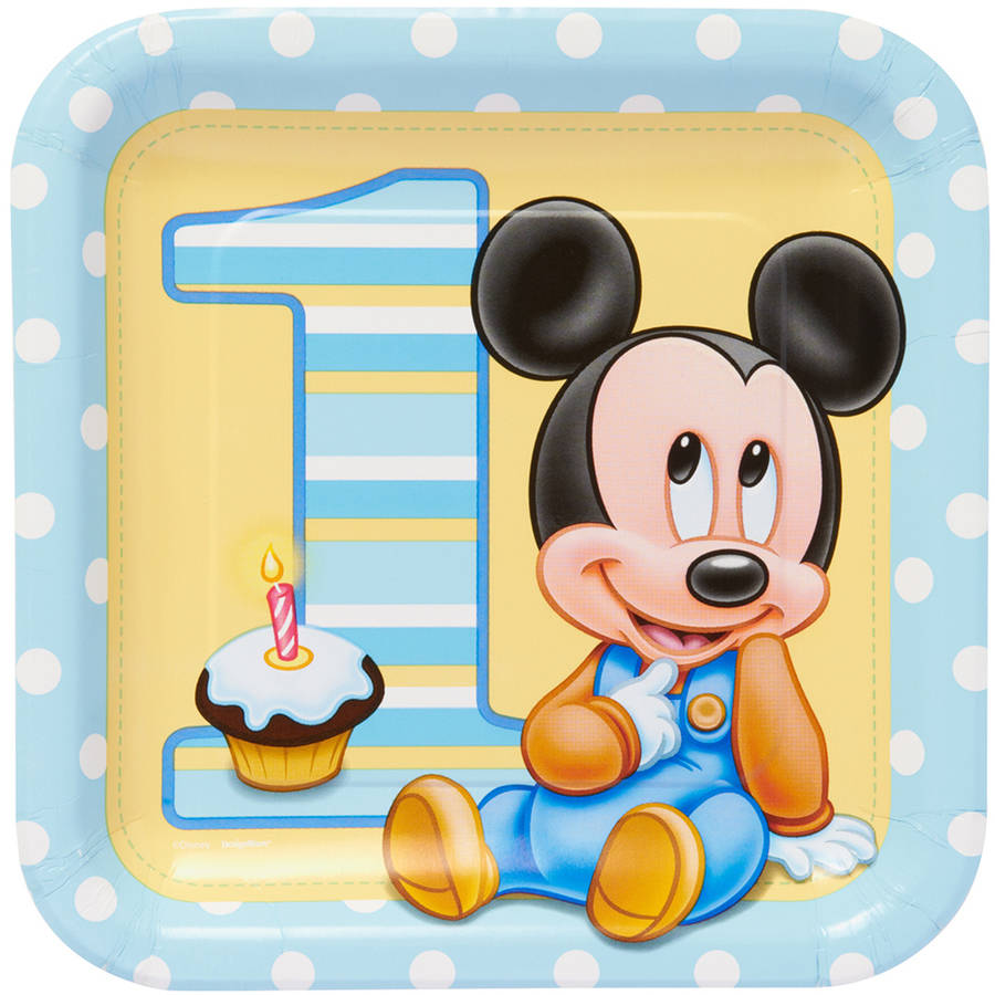 "Mickey Mouse First Birthday 9"" Square Plate, 8 Count, Party Supplies"