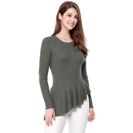 Unique Bargains Women's Ribbed Knit Peplum Top Gray Size S / 6) ()
